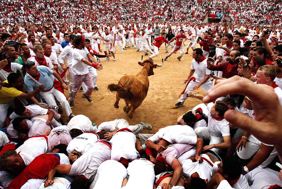 Running With Bulls, Pamplona, Spain