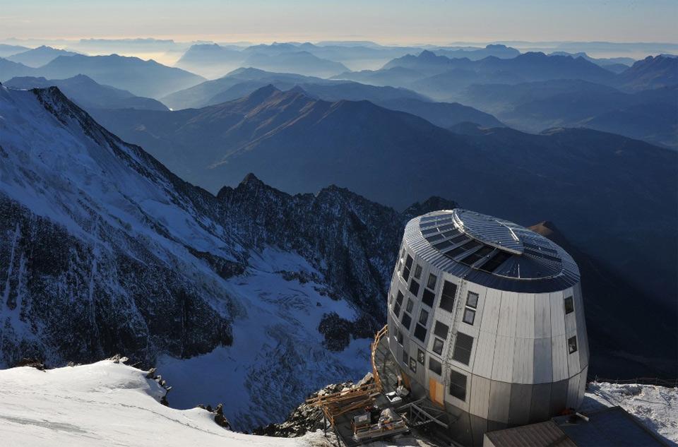 Futuristic Steel Cabin, Mount Blanc, France