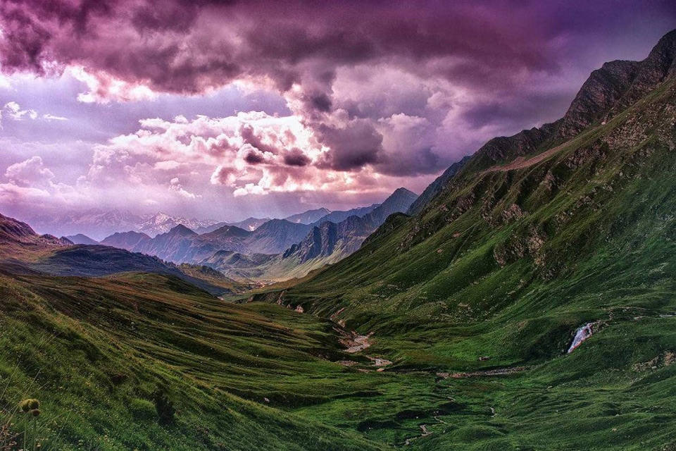 Purple Sky Over Switzerland Landscapes