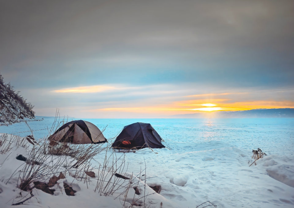Camping Over Frozen Lake