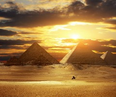 amazing pyramids at sunset