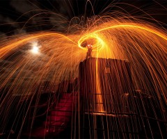 sparks in night