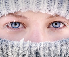 beautiful eyes and frozen eyelashes