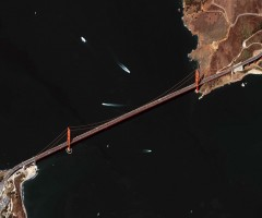 golden gate bridge seen from space