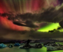 colorful aurora borealis over iceland