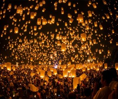 thousands of lanterns float to the sky, thailand