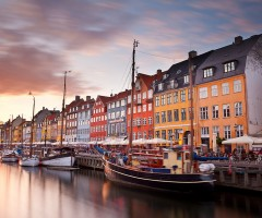 colorful homes line in copenhagen, denmark