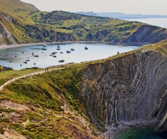 lulworth cove along jurassic coast, england