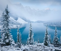 moraine lake at winter, canada