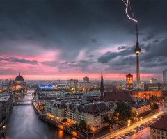 thunderstorm over berlin, germany
