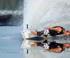 reflection of a wakeboarder
