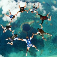 skydiving over the great blue hole, belize