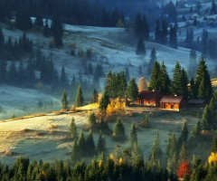 the farm on carpathian mountains
