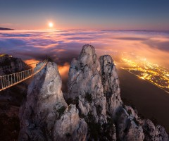 full moon over yalta, ukraine