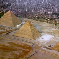 great pyramids of giza seen from above