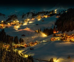 magical winter night in damüls, austria