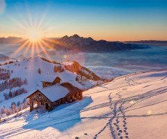 sunset from rigi kulm, switzerland