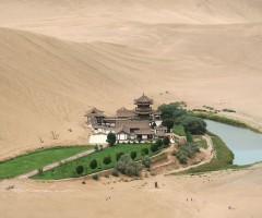 dunhuang`s crescent lake oasis, china