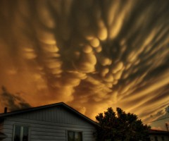 mammatus clouds over quebec, canada