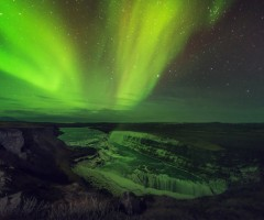 aurora lights over gulfosom, iceland