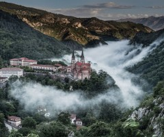 covadonga in fog, spain