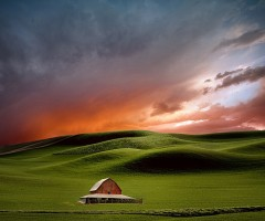 farmhouse in red sunset