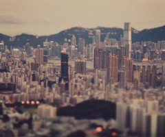 hong kong cityscape in tilt-shift