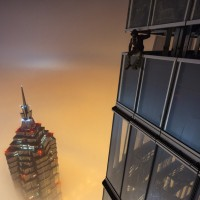 chilling above the smog in shanghai, china