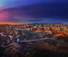 sunrise over zhangye danxia geological park