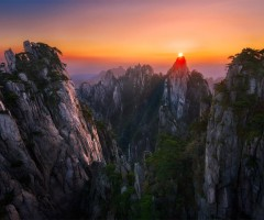 sunset over huang shan, china