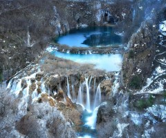 waterfalls of plitvice lake in winter, croatia