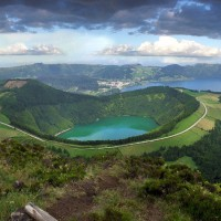 green volcanic mountains, azores, portugal