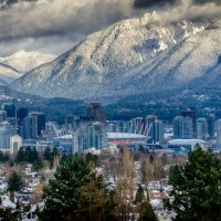beautiful view of grouse mountain, vancouver