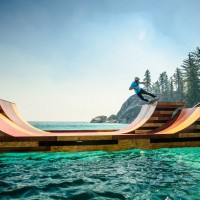 skateboarding on floating ramp