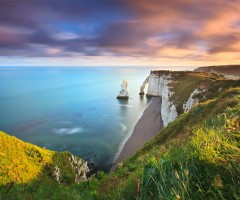 sunrise over etretat, france
