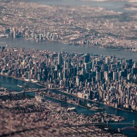 tilt-shift aerial of new york city