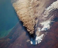 volcanic eruption seen from a space
