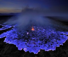 volcano emits glowing blue liquid, indonesia