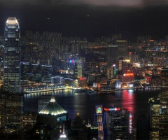hong kong skyline in night