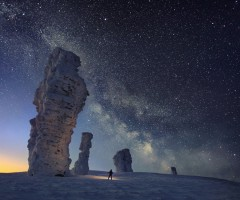 milky way over northen ural, russia