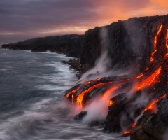 lava flow in ocean from big island, hawaii