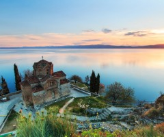 sunset over ohrid lake, macedonia