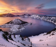 crater lake in winter, oregon