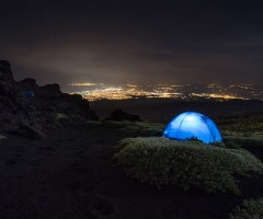 camping at mount etna, sicily, italy