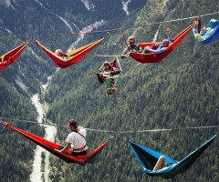 international highline meeting in monte piana, italian alps