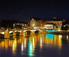 basel at night, switzerland