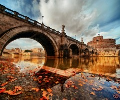 bridge in rome at autumn, italy