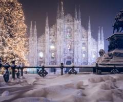 milan dome after snowfall