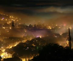 foggy night at wernigerode, germany