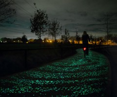 solar-Powered glowing bicycle path, holland